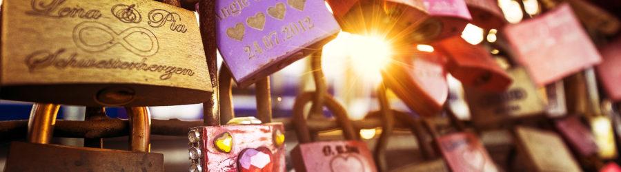 December 04, 2015 - Cologne, Germany: love padlocks on Hohenzollern bridge in Koln shot at sunset.