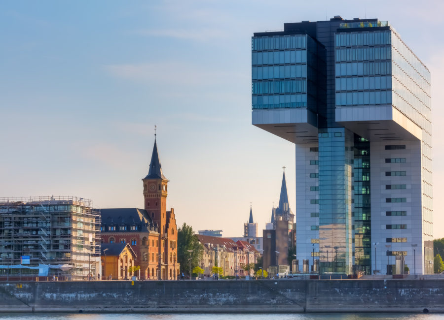 Cologne Germany - July 18 2017: view of the Rheinauhafen in Cologne. Rheinauhafen a formerly commercial harbour developed during 1880s is today home to numerous companies of the creative industry